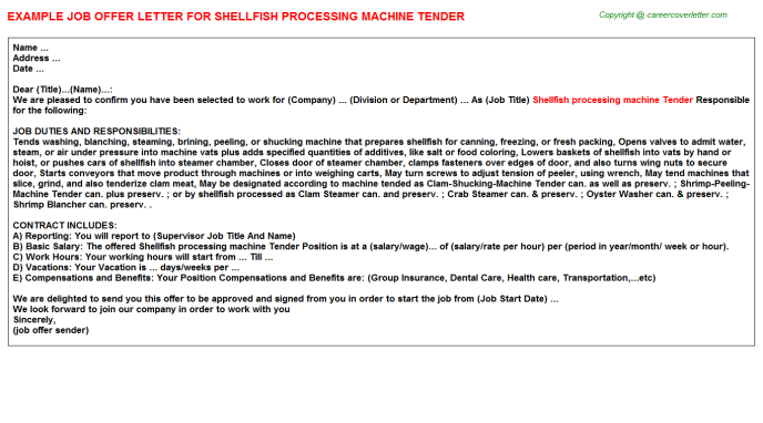 shellfish processing machine tender offer letter template