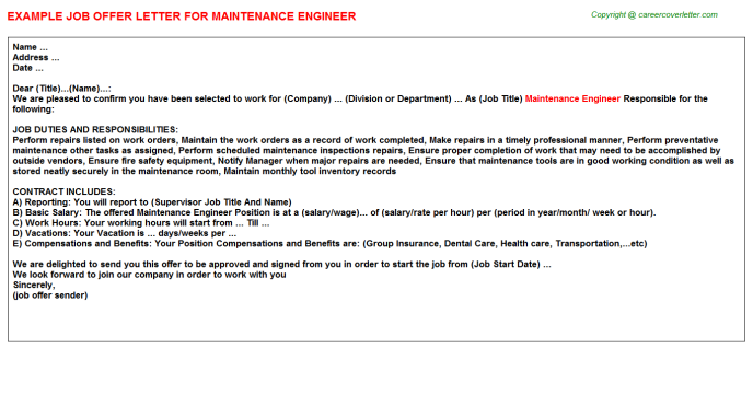 Maintenance Engineer Offer Letter Template