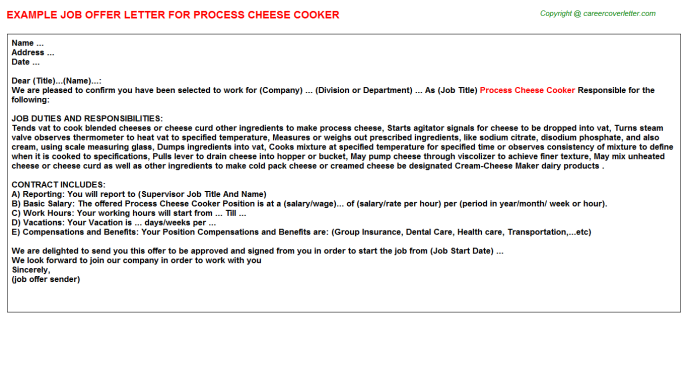 Process Cheese Cooker Offer Letter Template