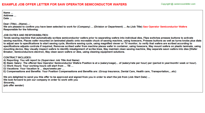 Saw Operator Semiconductor Wafers Offer Letter Template