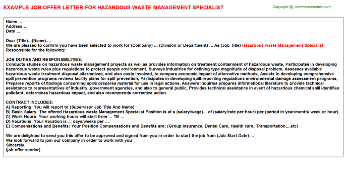 Hazardous Waste Management Specialist Offer Letters