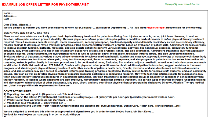 Physiotherapist Offer Letter Template