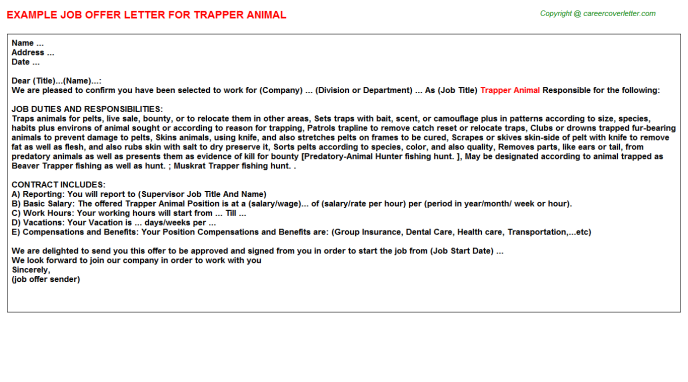trapper animal offer letter template