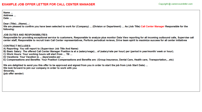 Call Center Manager Offer Letter Template