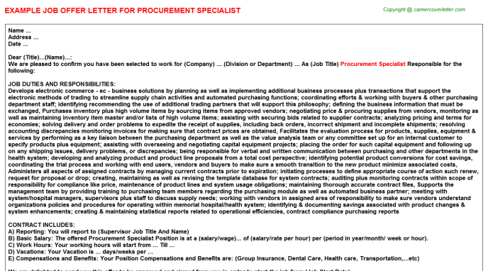 Procurement Specialist Offer Letter Template