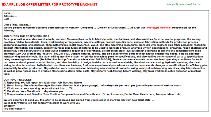 prototype machinist offer letter template