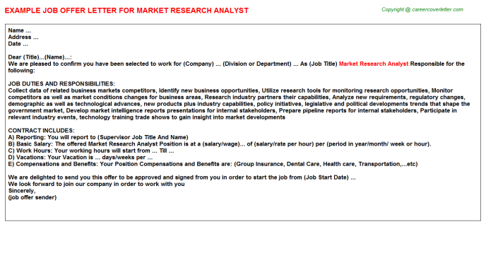 Market Research Analyst Offer Letter Template
