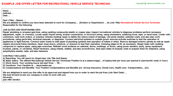 Vehicle Service Department Letter >> Recreational Vehicle Service Technician Job Offer Letter Job Offer