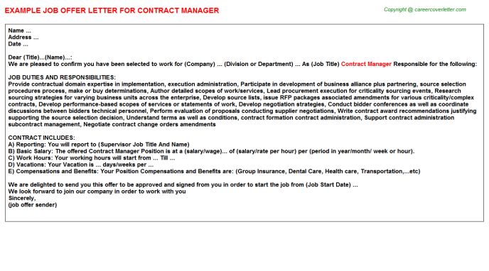 Contract Manager Offer Letter Template