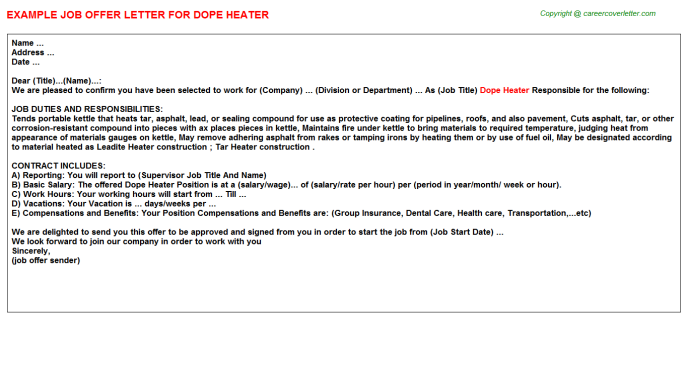 Dope Heater Offer Letter Template