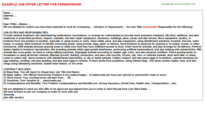 Farmworker Offer Letter Template