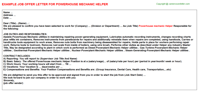 Powerhouse mechanic helper job offer letter (#12464)