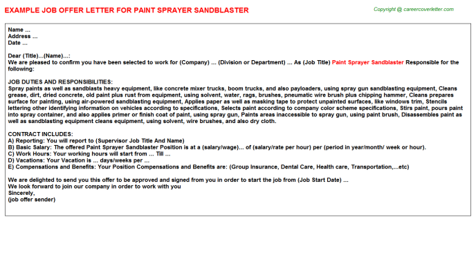 paint sprayer sandblaster offer letter template