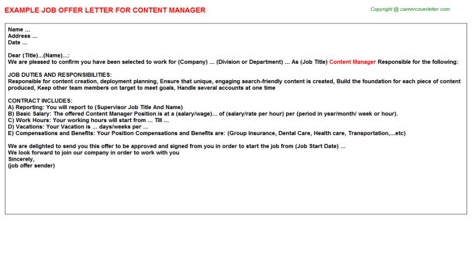 Content Manager Offer Letter Template