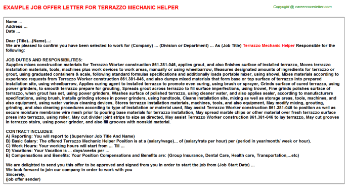 Terrazzo mechanic helper job offer letter (#20967)