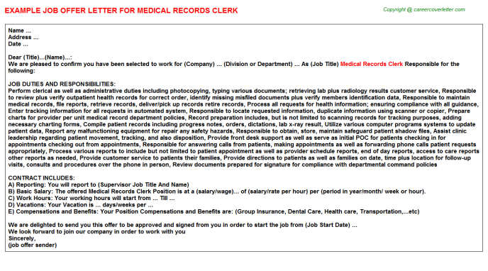 Medical Records Clerk Offer Letter Template