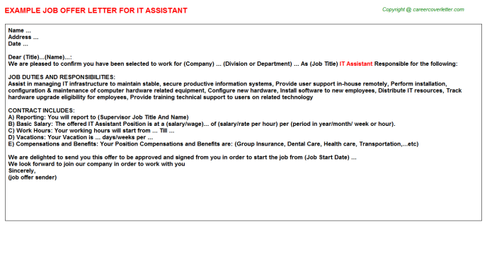 IT Assistant Offer Letter Template