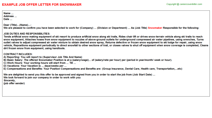 Snowmaker Offer Letter Template