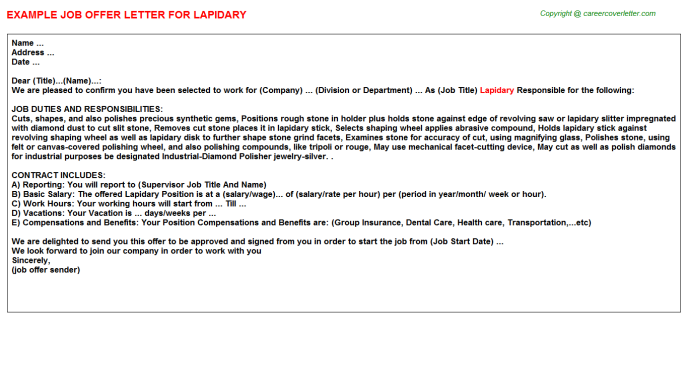 Lapidary Job Offer Letter Template