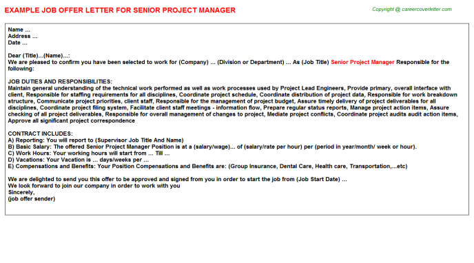 Senior Project Manager Offer Letter Template