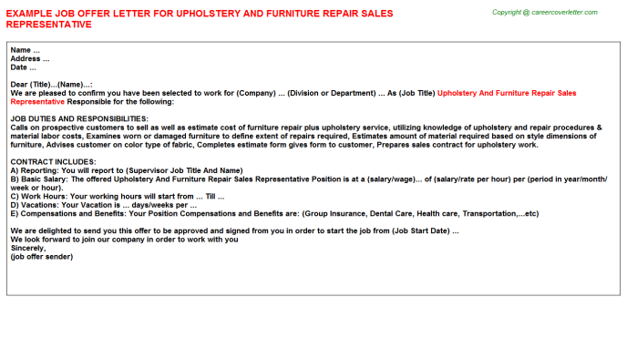 Upholstery And Furniture Repair Sales Representative Offer Letter Template