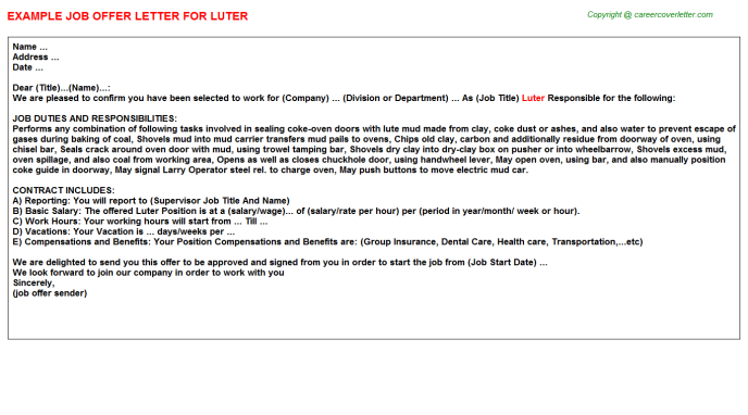 Luter Job Offer Letter Template