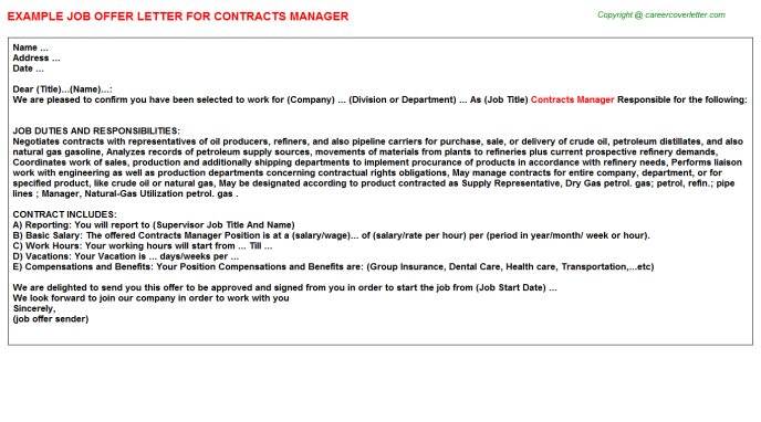 Contracts Manager Offer Letter Template