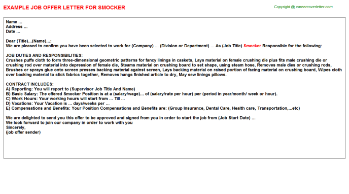 Smocker Job Offer Letter Template