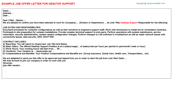 Desktop Support Offer Letter Template