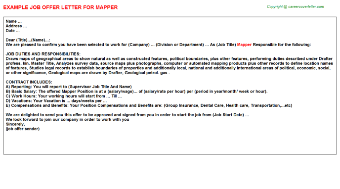 Mapper Job Offer Letter Template