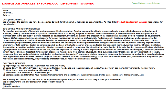 Product Development Manager Offer Letter Template