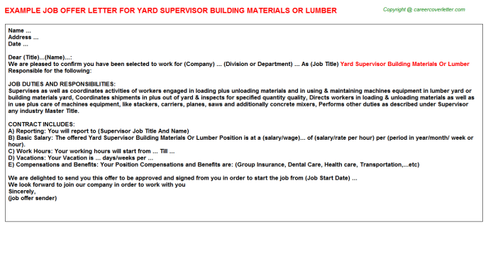Yard Supervisor Building Materials Or Lumber Offer Letter Template