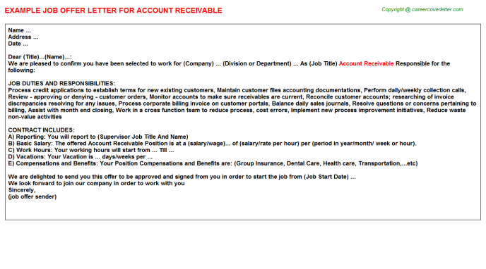 Account Receivable Offer Letter Template