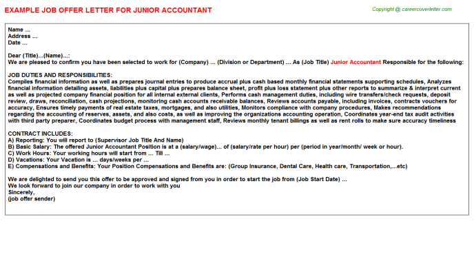 Junior Accountant Offer Letter Template
