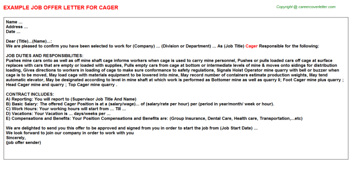 Cager Job Offer Letter Template