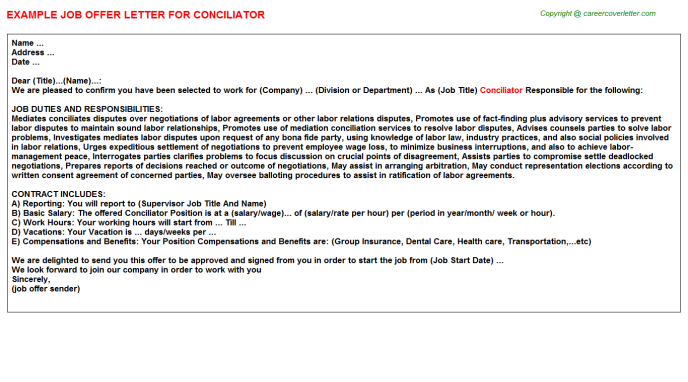 Conciliator Job Offer Letter Template