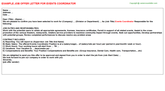Events Coordinator Offer Letter Template