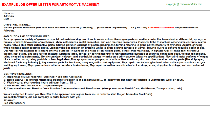 Automotive Machinist Offer Letter Template
