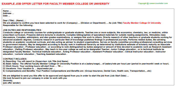 Faculty Member College Or University Offer Letter Template