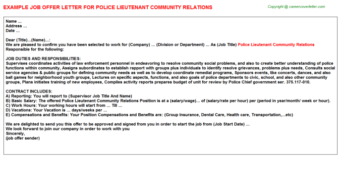 police lieutenant community relations offer letter template