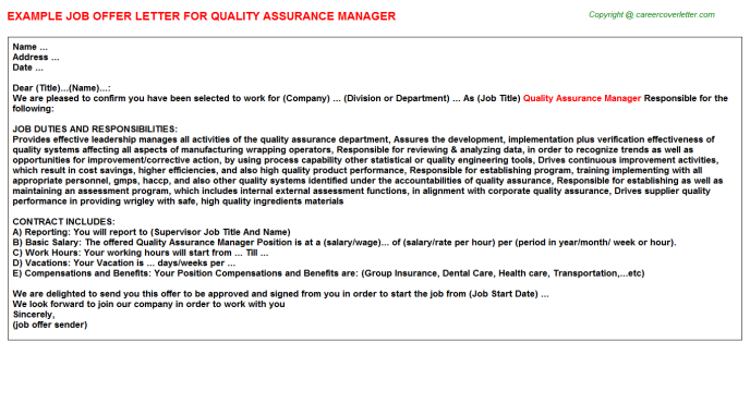 Quality Assurance Manager Offer Letter Template