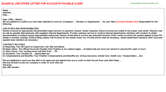 Accounts Payable Clerk Offer Letter Template