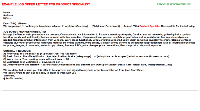 product specialist offer letter template