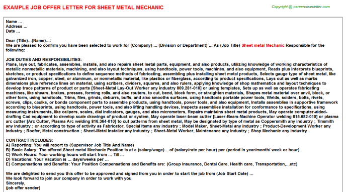 Sheet metal mechanic job offer letter (#19985)