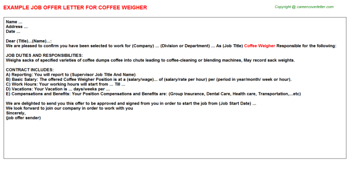 coffee weigher offer letter template