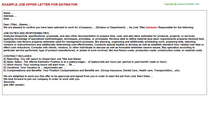 Estimator Job Offer Letter Template