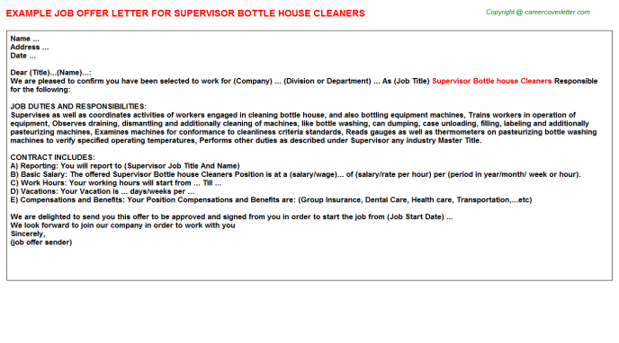 supervisor bottle house cleaners offer letter template
