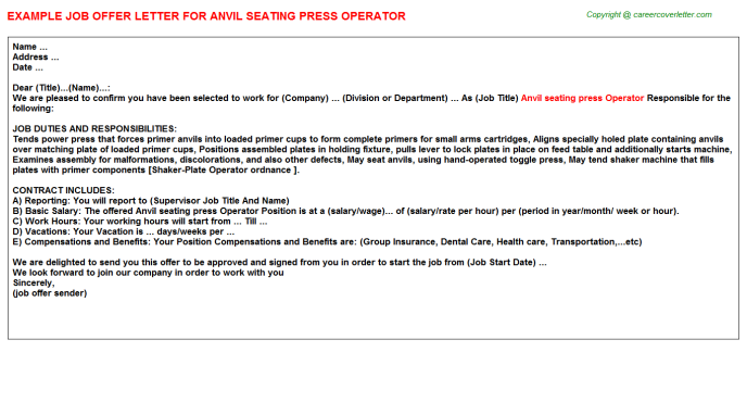 Anvil Seating Press Operator Offer Letter Template