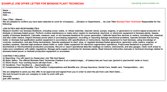Biomass Plant Technician Offer Letter Template