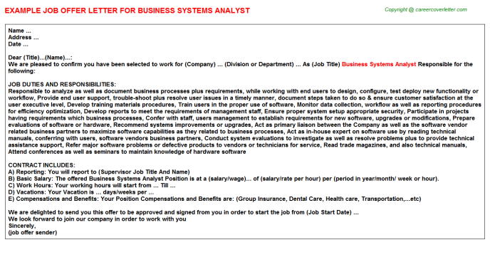Business Systems Analyst Offer Letter Template